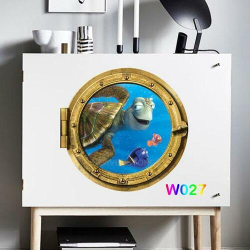 3D Porthole Ocean Animals Removable Wall Sticker Decals Vinyl Mural Room Decor