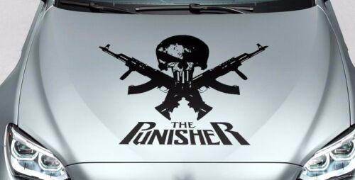 PUNISHER skull /& words GUN hood side vinyl decal sticker for car truck suv