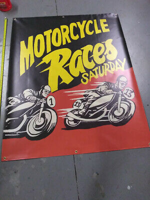 Vintage Motorcycle Racing    Freakshow  Sideshow  Circus Fair Carnival   Banner