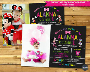 Image Is Loading MINNIE MOUSE MICKEY PERSONALISED INVITATIONS INVITE 1ST FIRST