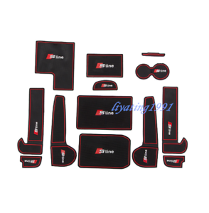 13PCS Red Inner Car Door Gate Non-slip Pad Mat Fit For Audi A6 C7 2016-2018