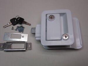White Rv Entry Door Lock Handle Knob W Deadbolt Camper