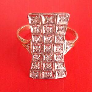 Exklusiver-Art-Deko-Ring-Echt-585-Gelbgold-Weissgold-Echte-Diamanten