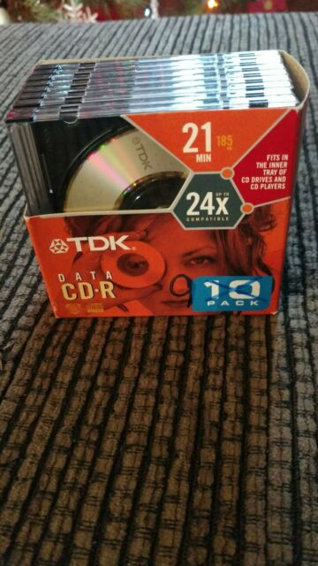 TDK Data CD-R Disc 9 Pack 21 Min Digital Camera MP3 Computer Writers New Open