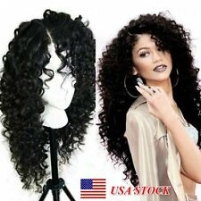 Women Lace Front Long Loose Curly Heat Resistant Synthetic Full Hair Wigs Black