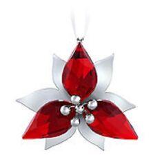 Swarovski Crystal---2 x Poinsettia Ornament-Silver---Brand New & Boxed