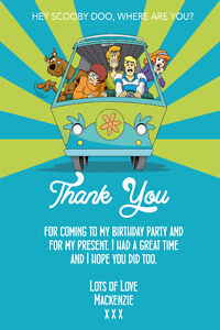 Personalised Boy Girl Scooby Doo Birthday Party Thank You Cards Inc