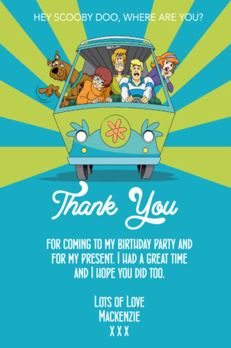 Personalised Boy//Girl Scooby Doo Birthday Party Thank You Cards inc envelopes
