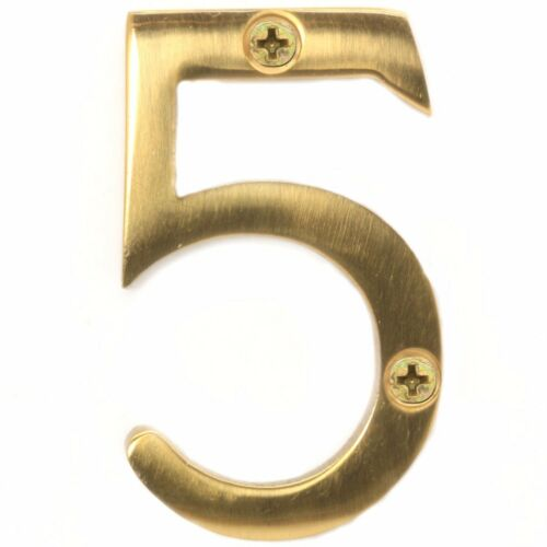 "SOLID BRASS 50mm//2/"" DOOR NUMBERS WITH SCREWS Hotel//B/&B//Room//House//Traditional"