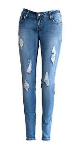 317d33c5a Détails sur Jeans Déchiré Femme Denim Slim Taille Basse JAL363 Pantalon  Destroy Skinny Bleu