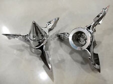 Chrome Spun Blade Spinning Front Axle Cap Nut Cover 4 Harley Dyna Touring XL XG