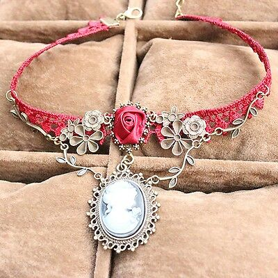 New Stylish Cameo Red Rose Lace Fashion Necklace Jewelry Women Gift