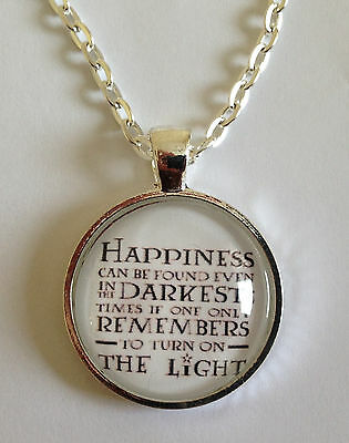 Harry Potter Necklace- Harry Potter Quote Necklace- Happiness Necklace