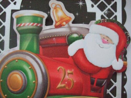 1 x Lindo Navidad Tarjeta Topper//Santa en tren