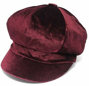 fbe4e3e2a028b Burgundy Faux Velvet Baker Boy Hat Womens Ladies Newsboy Cap Bargain ...