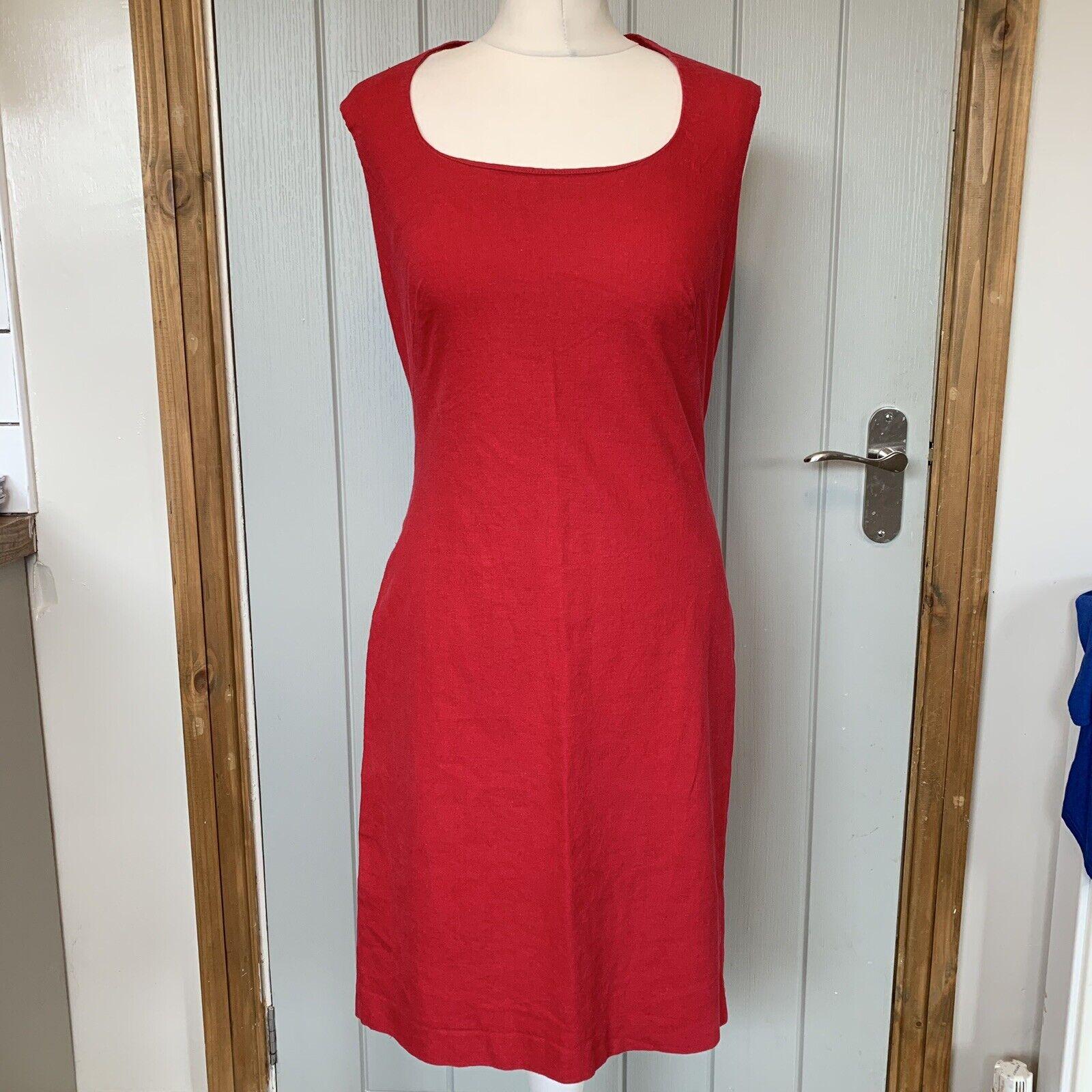 MODA INT'L LINEN BLEND RED SLEEVELESS SHIFT SUMMER DRESS CUT #7073 SIZE 10. (a8)