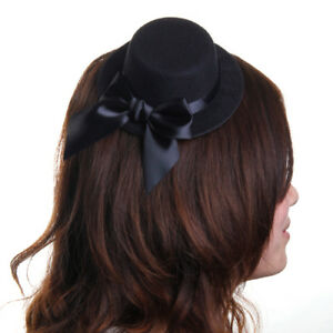 Black Mini Top Hat Fascinator Millinery Hen Party Fancy Dress Do