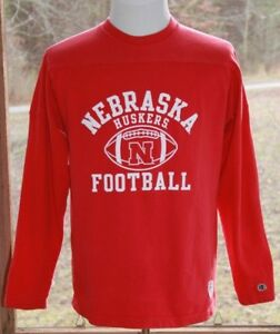 Champion-Size-Large-Nebraska-Cornhuskers-Football-Long-Sleeve-Heavy-Shirt-AF