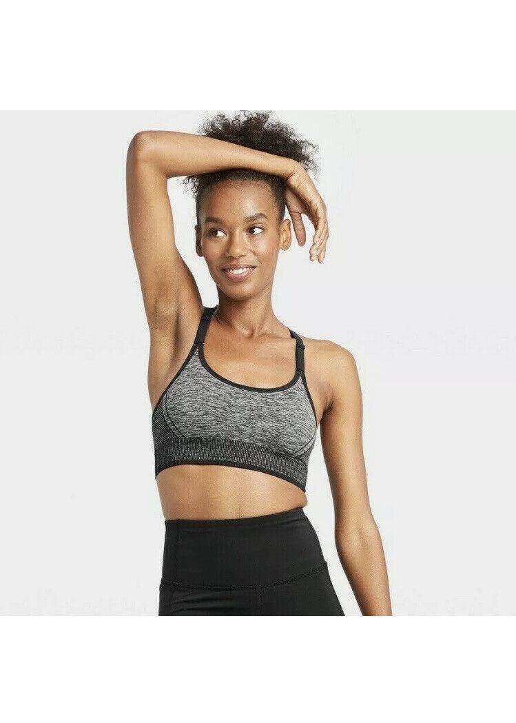 All In Motion Womens Medium Support Seamless Bra Size XS Dark Heather Gray