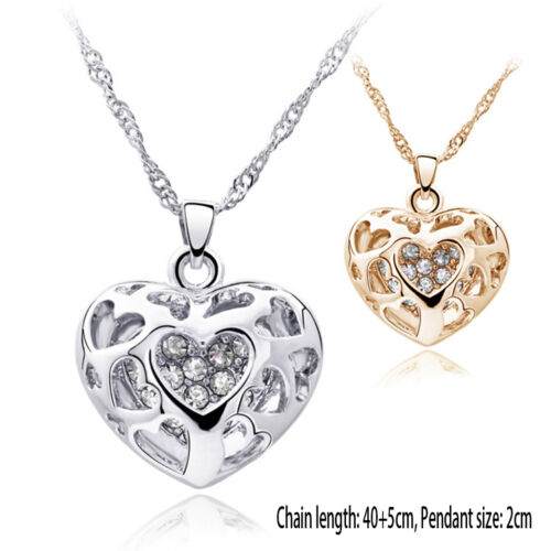 New Silver//Gold Plated Rhinestone Pierced Heart Necklace Pendant Charm Jewelry