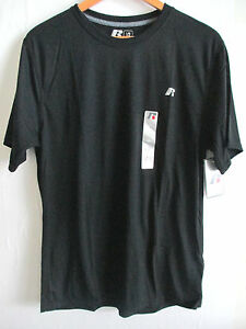 RUSSELL Mens Performance Tee Shirt L Athletic Dri Crew Neck T-Shirt BLUE BLACK