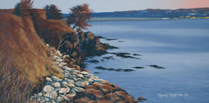 Original Acrylic Painting of Rocky Coastline 15x30 Seascape by Timothy Stanford
