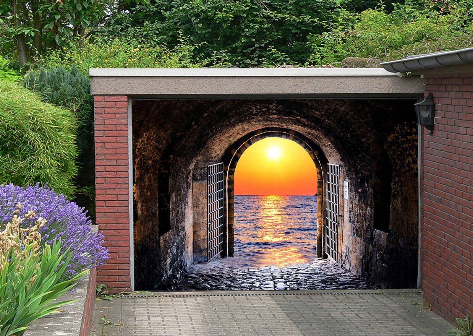 3D Gate Sea Sunset Garage Door Murals Wall Print Decal Wall Deco AJ WALLPAPER IE