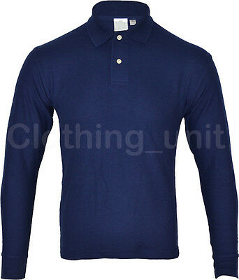 Mens Long Sleeve Pique Polo Shirt Top Warm S M L XL XXL