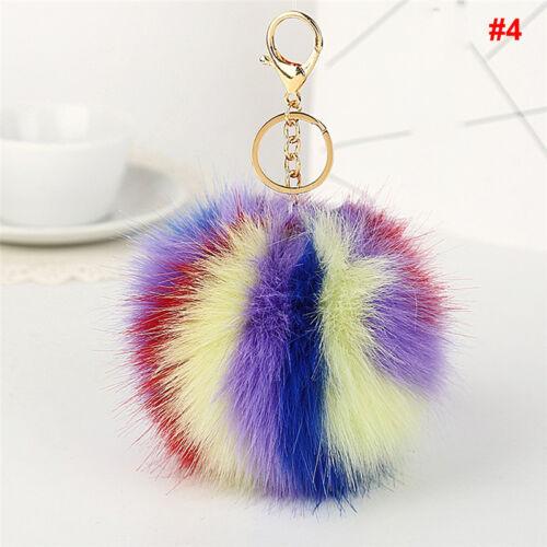 Fourrure de lapin peluche Pompom ball sac à main voiture pendentif porte-clés hq