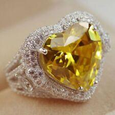Women Fashion 925 Silver Citrine Gemstone Heart Ring Engagement Jewelry Size 7