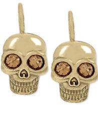 NEW NEW BETSEY JOHNSON Skeletons After Dark Goldtone Skull Drop Earrings