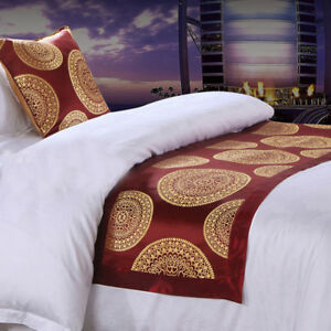 Retro-Red-Bed-Runner-Bedroom-Home-Hotel-Bedding-Tail-Mat-Single-Double-King-Size