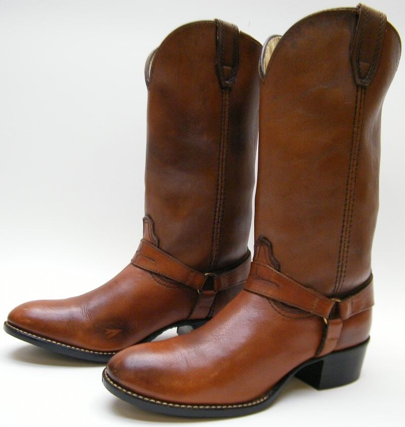 WOMENS VINTAGE ACME BROWN HARNESS COWBOY WESTERN BOOTS SZ 5.51 2 D USA MADE