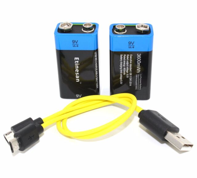 2pc 9V 3600mWh lithium li-po rechargeable battery + micro usb cable for charging