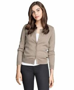 Ladies-Ex-h-amp-m-Round-Neck-Cardigan-Sweater-Top-Quality-long-manche