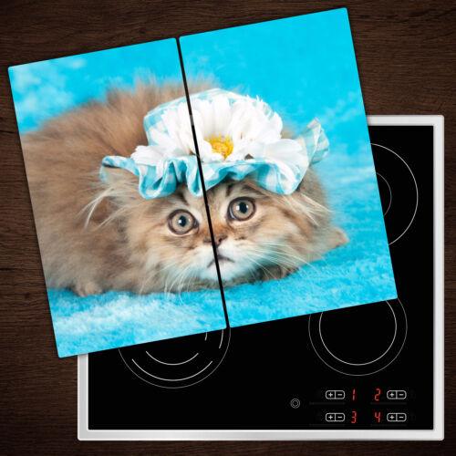 2x30x52 cm Herdabdeckplatten aus Glas Spritzschutz Katze