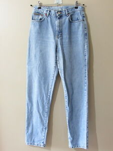 VTG-Calvin-Klein-sz-10-High-Waisted-Mom-Jeans-Made-in-USA-Light-Wash