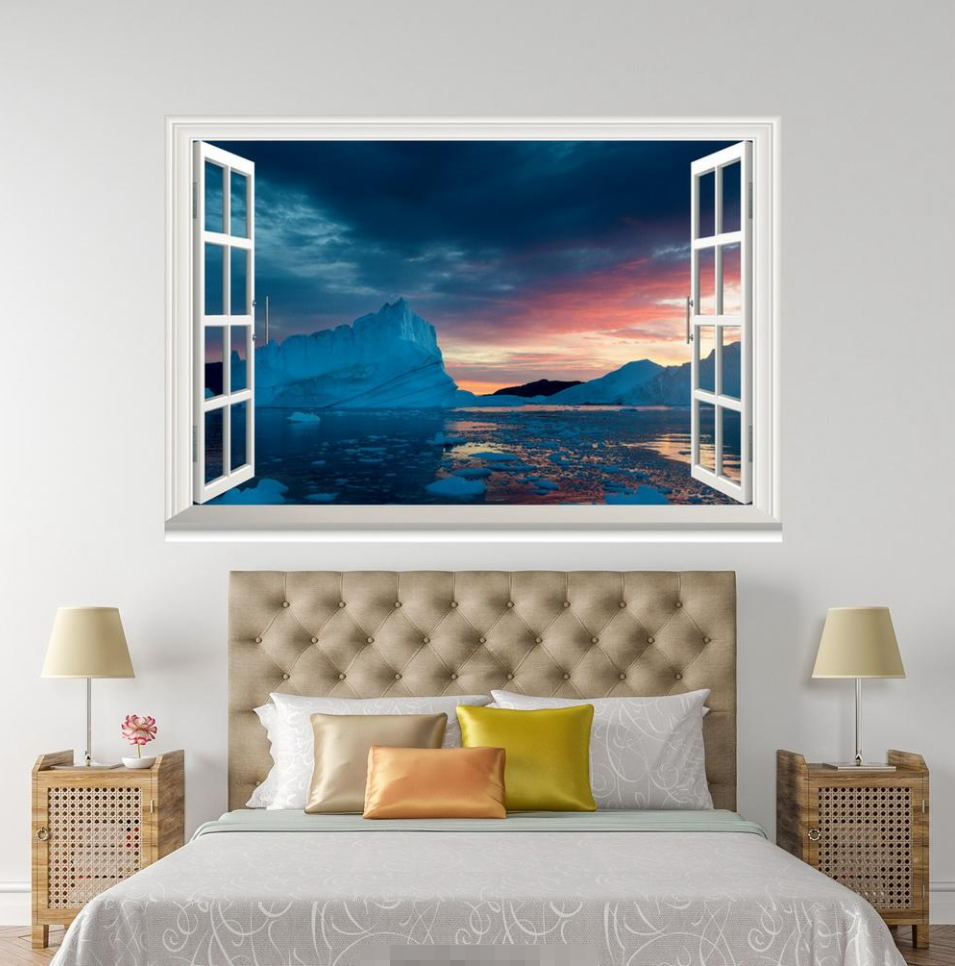 3D Blau Sky River View 33 Open Windows WallPaper Wandbilder Wall Print AJ Jenny