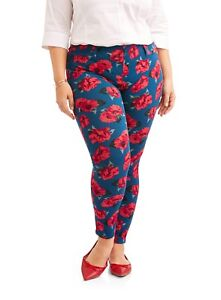 3c76f310520e0 Faded Glory Women's Size 4X (26W-28W) Jegging Blue Red Floral Full ...