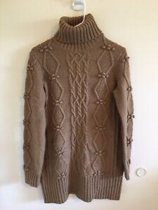 Women-s-Sz-M-Ann-Taylor-Loft-Cable-Knit-Turtleneck-Sweater-Brown-M
