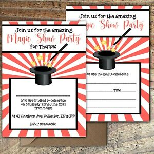 BIRTHDAY-INVITATIONS-Amazing-Magic-Party-Personalised-or-Blank-Any-Age-PK-10