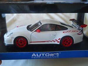 Autoart Porsche 911 997 Gt3 Rs 3 8 White W Red Stripes 1 18 Diecast Ebay