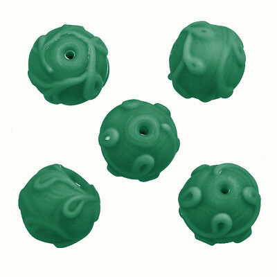 Transparent Green Patterned Lampwork Glass Beads 12mm Pack of 5 N76//4