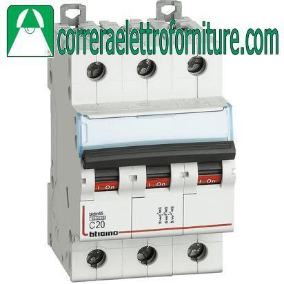 BTICINO FA83C20 Interruttore magnetotermico 3Poli curva c 20A 4,5KA