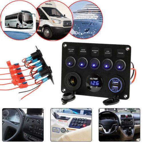 12//24V Switch Control Schaltpaneel 3 Gang LED USB Voltmeter Schalter Schalttafel