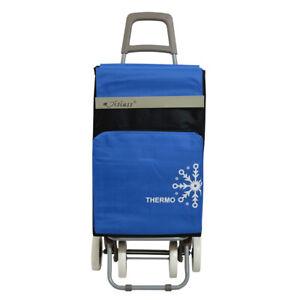 Carro-de-Compra-4-Ruedas-2-Bolsillos-uno-para-congelados-negro-y-azul-envios-24h