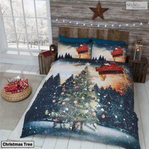 Navidad Invierno Diseño Edredones Cama Doble único /& Santa Kids Xmas sistemas del lecho