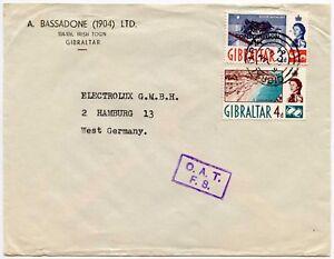 GIBRALTAR-OAT-ONWARD-AIR-TRANSMISSION-FS-to-GERMANY-PRINTED-ENV-BASSADONE