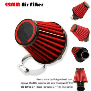 Red-42mm-Air-Filter-Pod-45-Angled-150cc-250cc-Motorcycle-Scooter-ATV-Dirt-Bike
