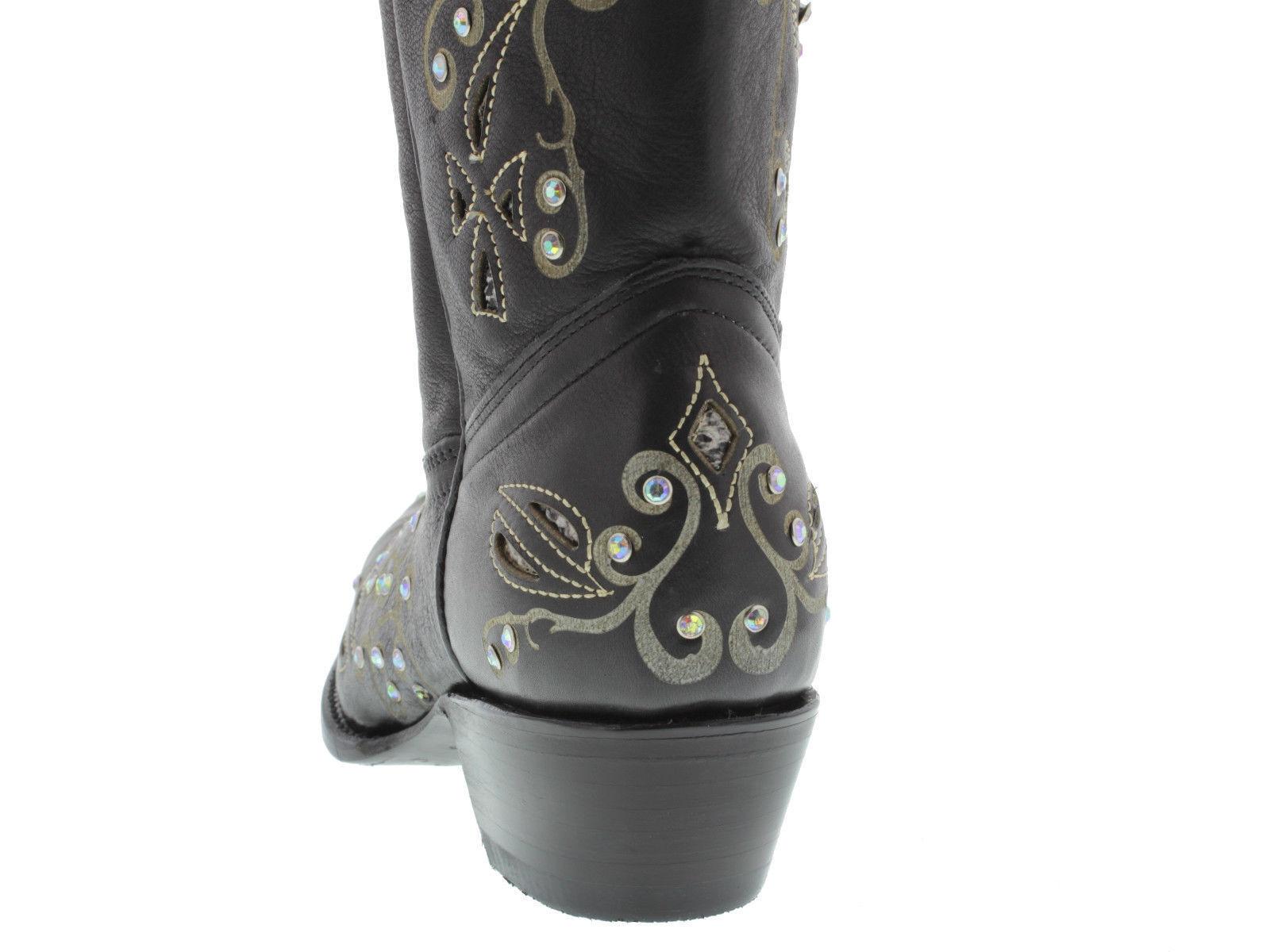 Womens Black Python Inlay Rhinestone Western Leather Leather Leather Cowboy Boots Rodeo Cowgirl 0edd30